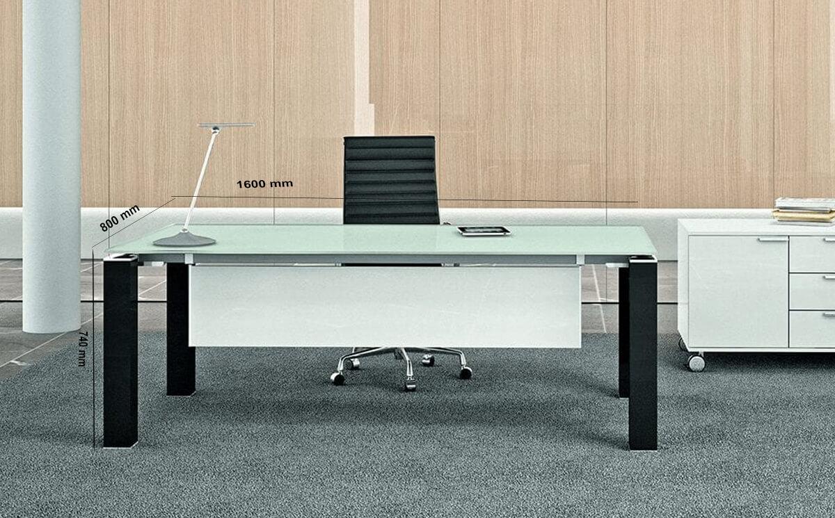 Size Elegante – Black Or White Elegant Toughened Glass Top Executive Desk
