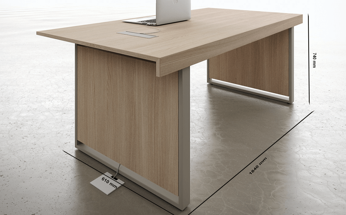 Size Ernesto 1 Panel Legs Small Meeting Table