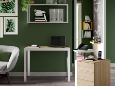 Nicola – Modern Home Office Desk With Wall Unit, 3 Drawer Pedestal & Attached Phone Stand