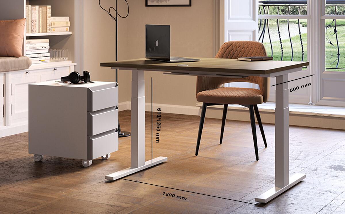Size Chiara – Sleek Height Adjustable T Leg Home Office Desk With 3 Drawer Pedestal