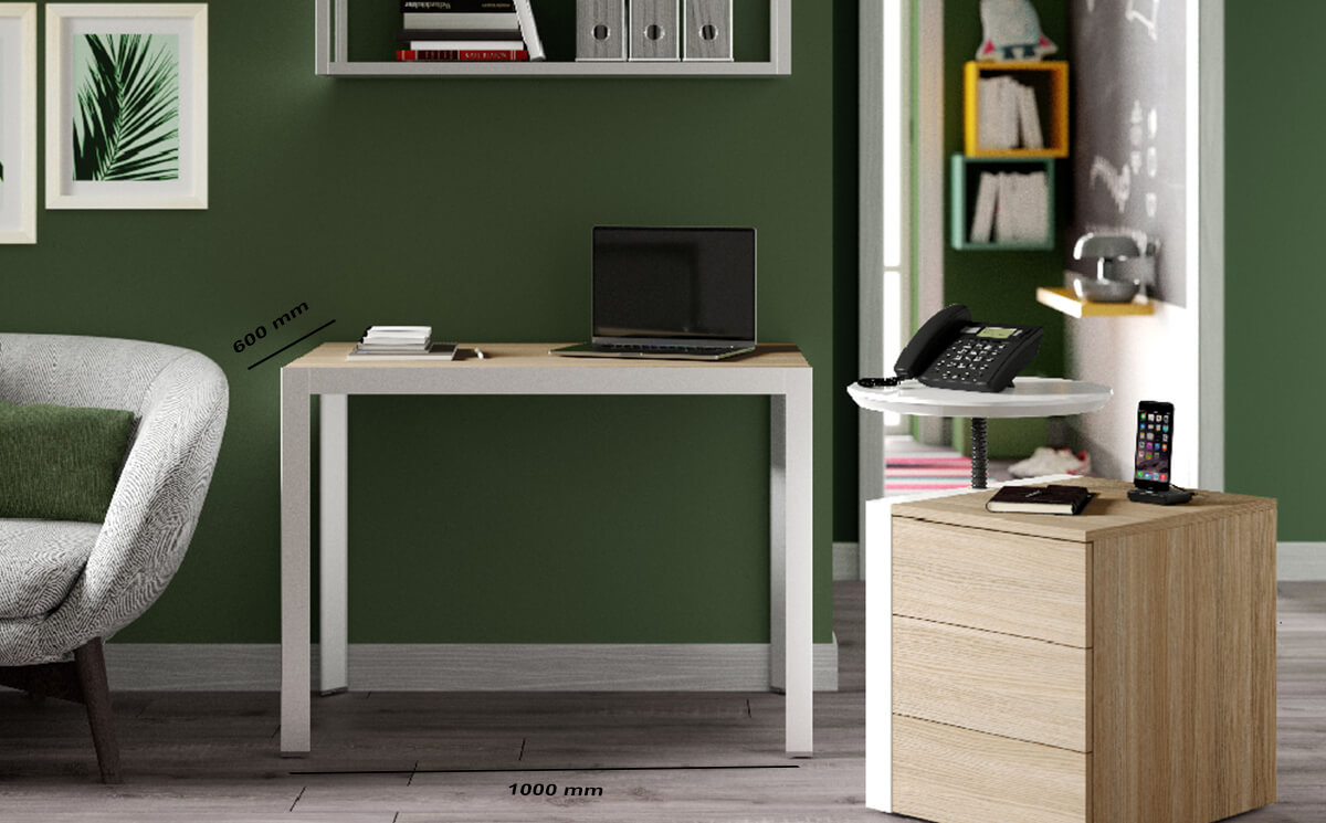 Size Nicola – Modern Home Office Desk With Wall Unit, 3 Drawer Pedestal & Attached Phone Stand