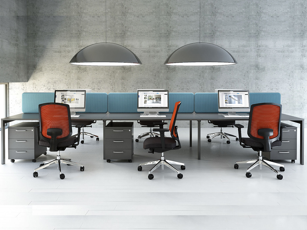 Perry 1 – Straight Office Desk With White Legs.
