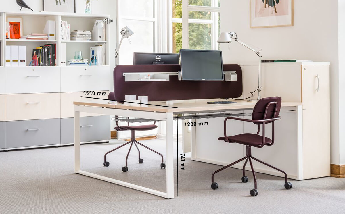 Size Bella 1 – Office Desk With Ring Leg