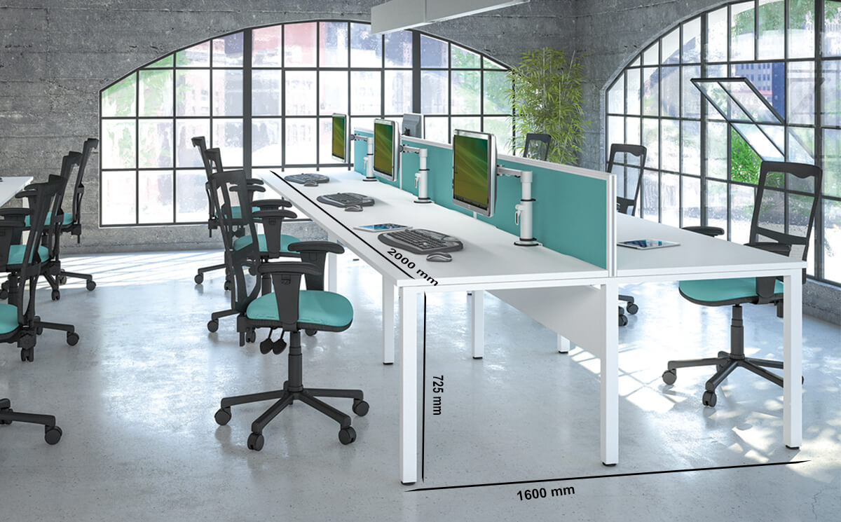Size Logan 1 – U Leg Double Operational Office Desk