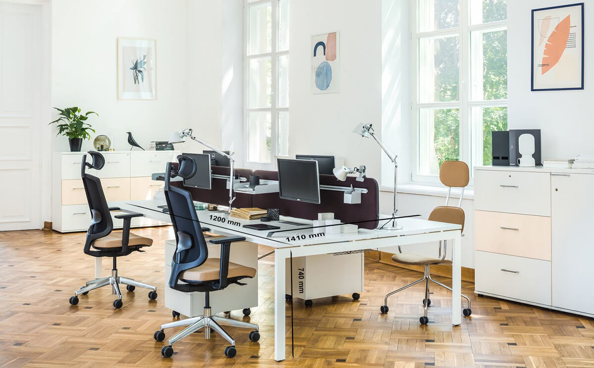 Size Perry 1 – Straight Office Desk With White Legs