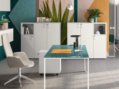 Alexia – U Leg Glass Desk Large Side Storage