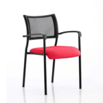 Dale – Mesh Back Visitor Chair Black With Arms Cherry