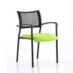 Dale – Mesh Back Visitor Chair Black With Arms Green