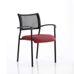 Dale – Mesh Back Visitor Chair Black With Arms Chilli