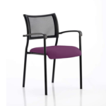 Dale – Mesh Back Visitor Chair Black With Arms Purple