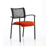 Dale – Mesh Back Visitor Chair Black With Arms Red
