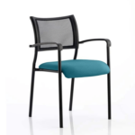 Dale – Mesh Back Visitor Chair Black With Arms Teal