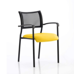 Dale – Mesh Back Visitor Chair Black With Arms Yellow