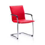 Echo Visitor Cantilever Chair Multicolor Bonded Leather Red