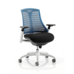 Flex Task Operator Chair Black Fabric Seat With Multicolor White White Blue