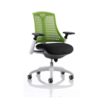 Flex Task Operator Chair Black Fabric Seat With Multicolor White White Green