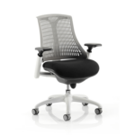 Flex Task Operator Chair Black Fabric Seat With Multicolor White White Grey