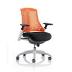 Flex Task Operator Chair Black Fabric Seat With Multicolor White White Orange