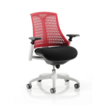 Flex Task Operator Chair Black Fabric Seat With Multicolor White White Red
