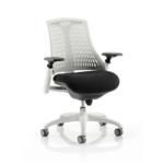 Flex Task Operator Chair Black Fabric Seat With Multicolor White White White