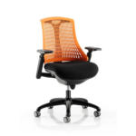 Flex Task Operator Chair In Multicolor Back With Arms Orange Black