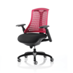 Flex Task Operator Chair In Multicolor Back With Arms Red Black