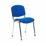 Iso Stacking Chair Black Fabric Black Frame Blue Chrome