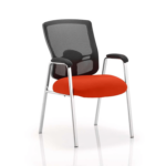 Oregon – Straight Chrome Leg Visitor Chair With Mesh Back Red