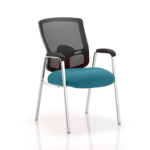 Oregon – Straight Chrome Leg Visitor Chair With Mesh Back Teal
