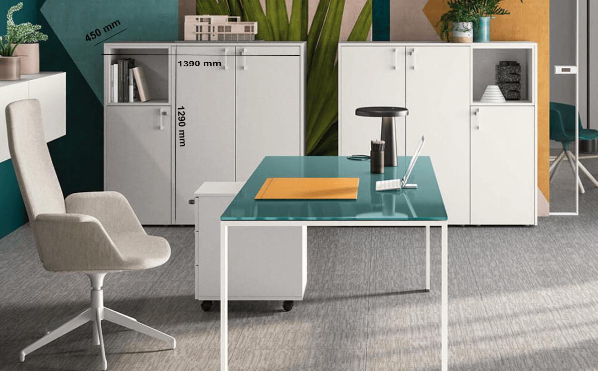 Size Alexia – U Leg Glass Desk Large Side Storage