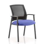 Metro Visitor Chair Black Fabric Black Mesh Back Blue
