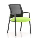 Metro Visitor Chair Black Fabric Black Mesh Back Green