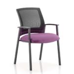 Metro Visitor Chair Black Fabric Black Mesh Back Purple