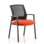 Metro Visitor Chair Black Fabric Black Mesh Back T Red