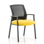 Metro Visitor Chair Black Fabric Black Mesh Back Yellow