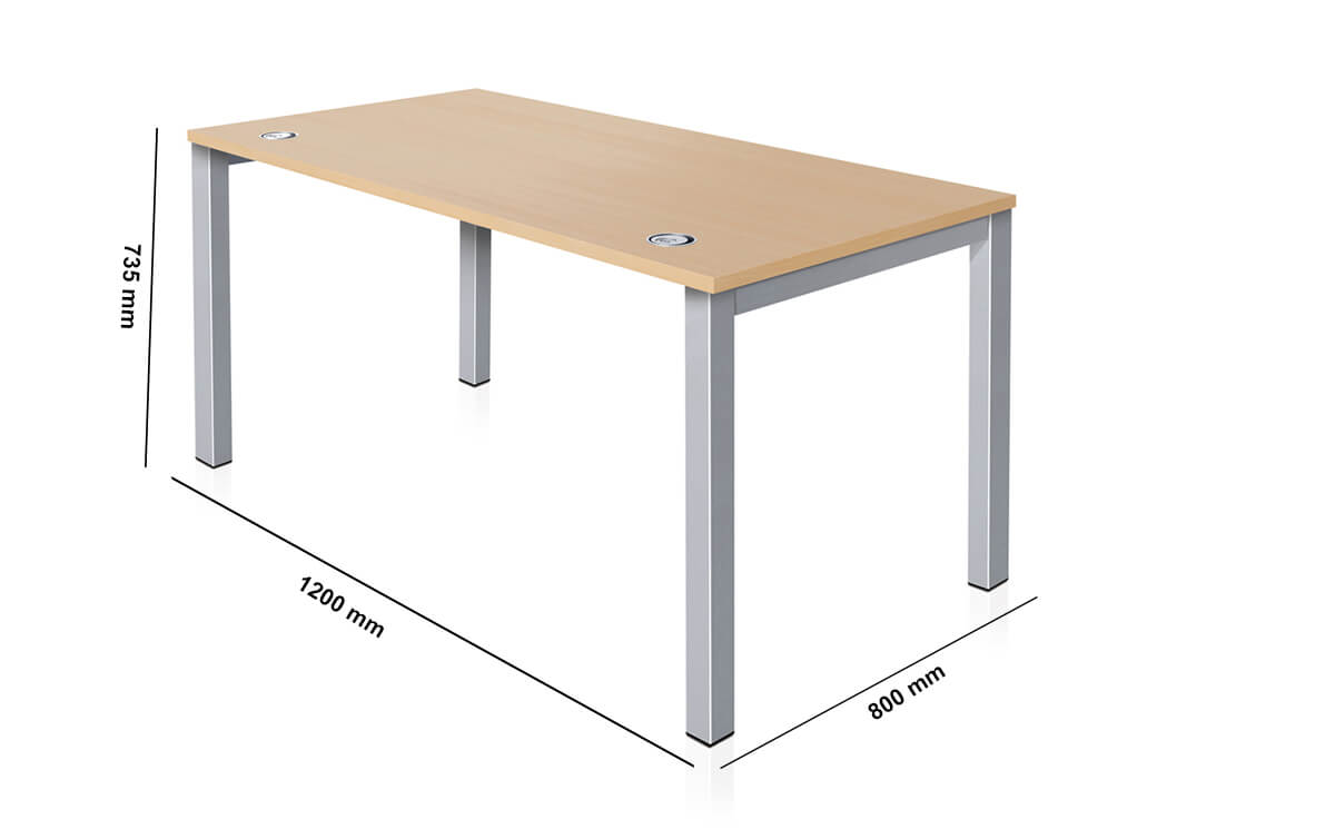 Arial Executive Desk With Fixed Legs Dimension Image