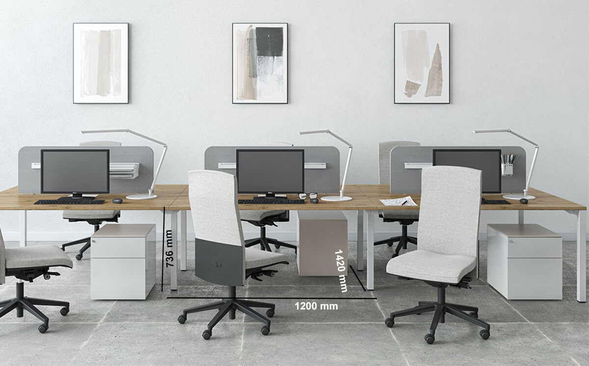 Arial Workstation For 2,4 And 6 People With Fixed Height Dimension Image