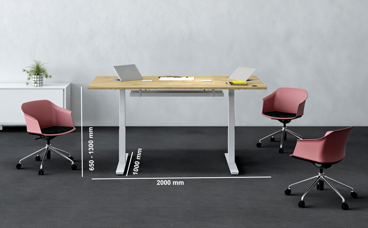 Axel Electric Height Adjustable Meeting Table Dimension Image