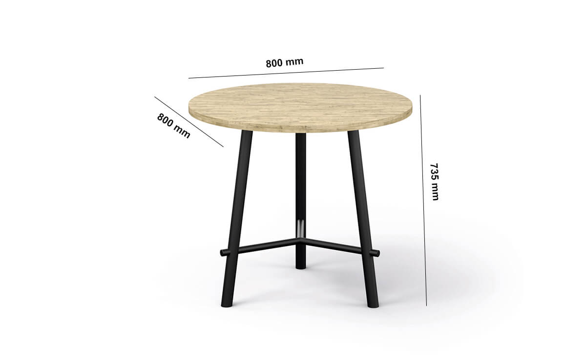 Clara Round Meeting Table Dimension Image