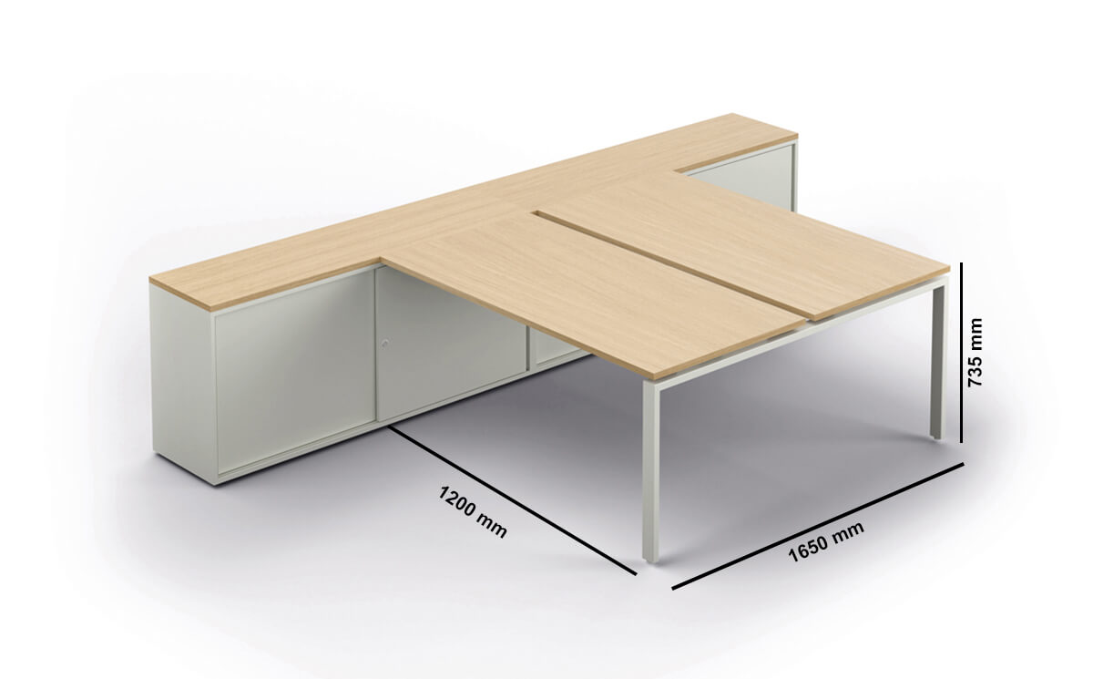 Conect Bench With Optional Credenza Dimension Image