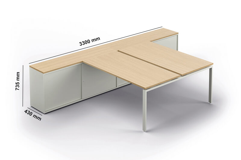 Conect Bench With Optional Credenza Perfect Adtion
