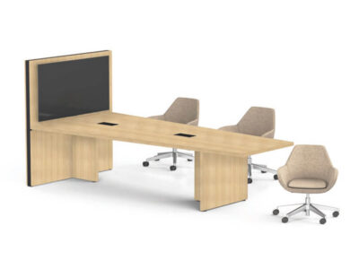 E Meeting Table With Panel Legs And Multimedia Wall