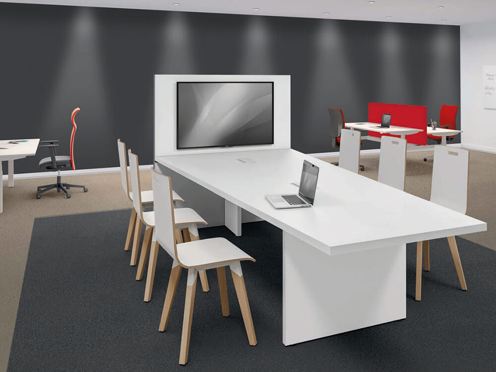 E Meeting Table With Panel Legs And Multimedia Wall Main Image