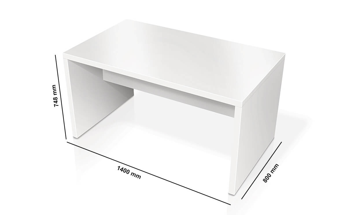 Eloise Rectangular Desk With Panel Legs And Footrest Dimension Image