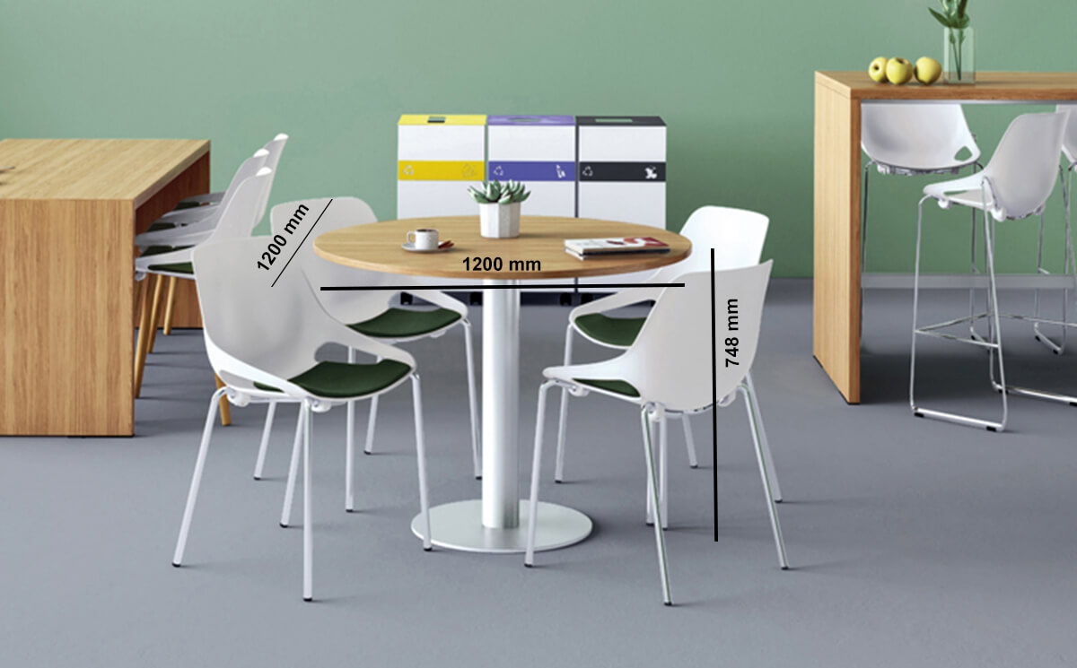 Eloise Round Desk With Central Round Base Dimension Image