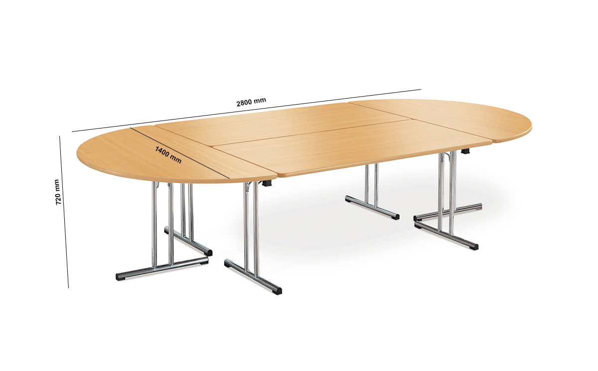 Folding Meeing Table With Chrome Legs Dimension Image