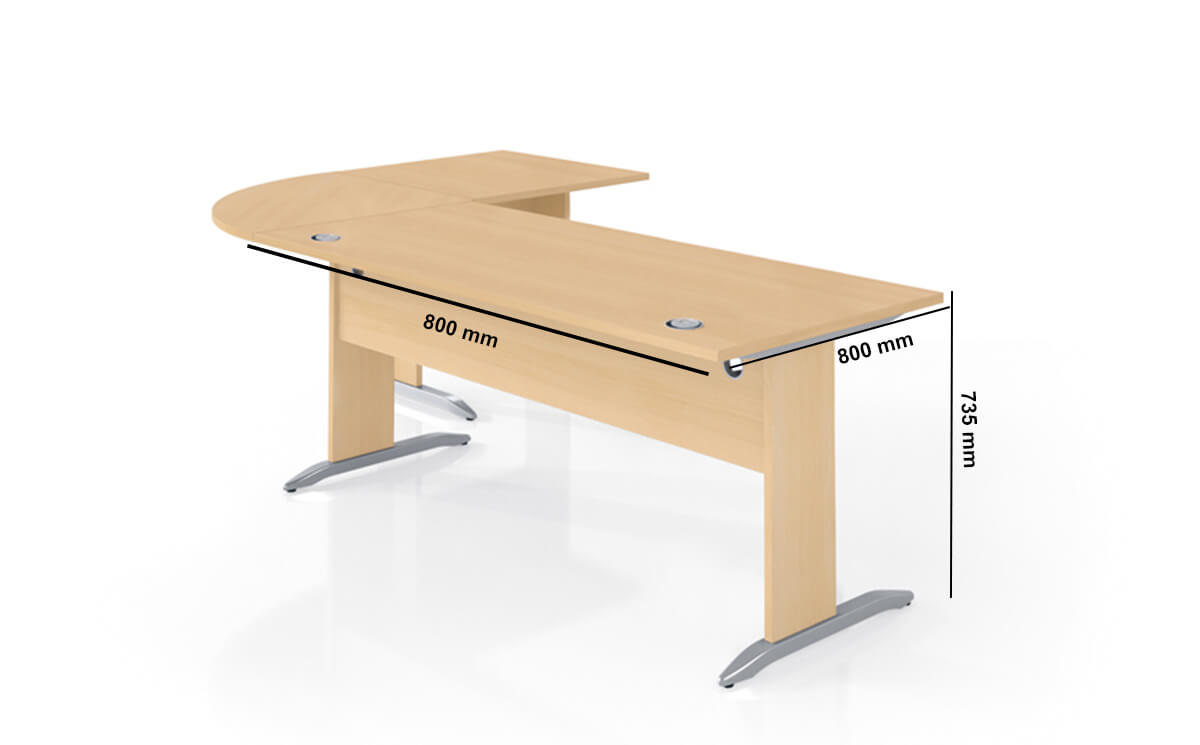 Forstyl Executive Desk With Optional Corner Andgle Desk And Return Dimension Image