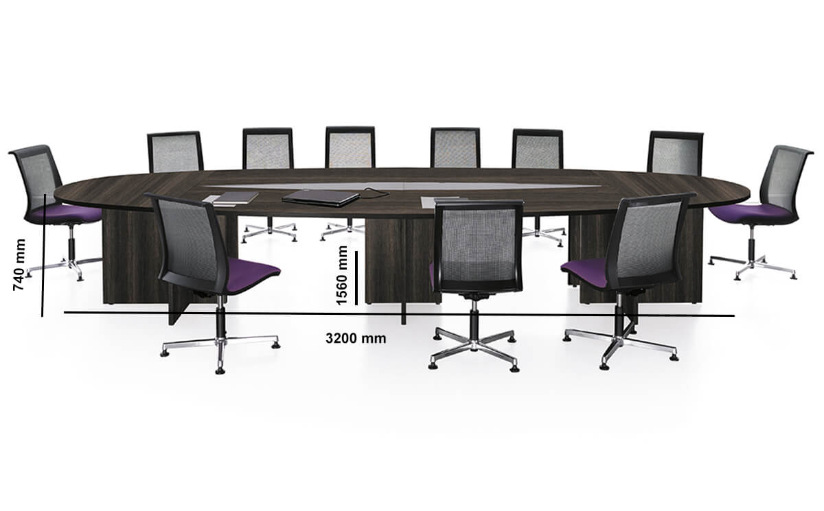 Modulo Elliptica Shape Meeing Table With Panel Legs Dimension Image