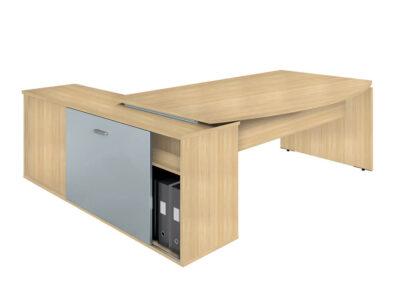 Moka Curved Executive Desk With Credenza Unit 1