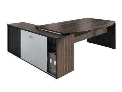 Moka Curved Executive Desk With Credenza Unit